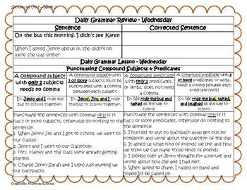 Grammar Warm-Ups & Lessons Sentences Unit - Week 2