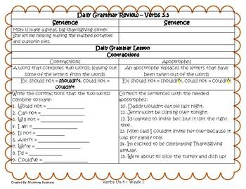 Grammar Warm-Ups & Lessons Verbs Unit Week 3