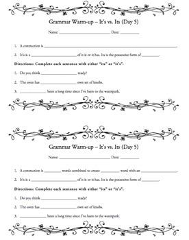 Grammar Warm-ups - BUNDLE - 6 Units/30 Weeks of Daily Grammar