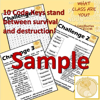Grammar Word Classification - Escape Room, 10 Challenges, 10 Word Groups