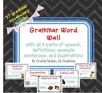 Grammar Word Wall Flash Cards Posters {All 8 Parts of Speech!}