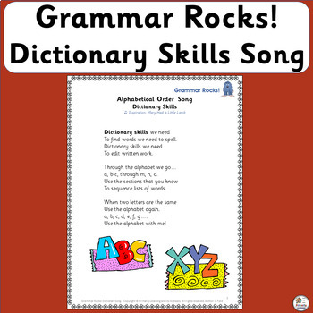 Grammar Rocks! Dictionary Song includes a chart, lesson ideas, & mp3! (SASSOON)