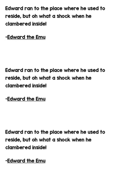 Grammar Works with Mentor Text Edward the Emu