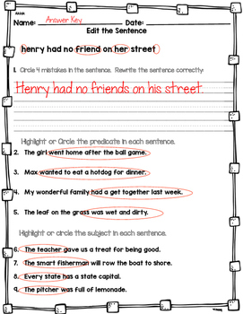 Grammar Works with Mentor Text Henry and Mudge The First Book  Subject/Predicate