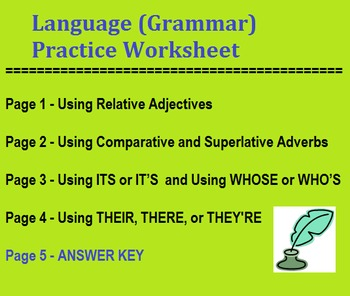 Grammar Worksheet (4 pgs) - Word Choice - Relative Adjectives, Whose/Who's, ETC.