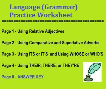 Grammar Worksheet (4 pgs) - Word Choice - Relative Adjecti