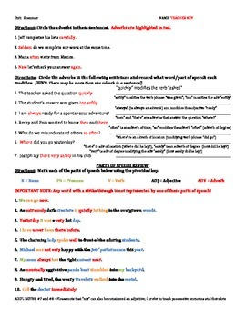 Grammar Worksheet: ADVERBS with other parts of speech