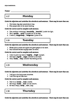 Grammar Worksheet - Adjectives and Adverbs
