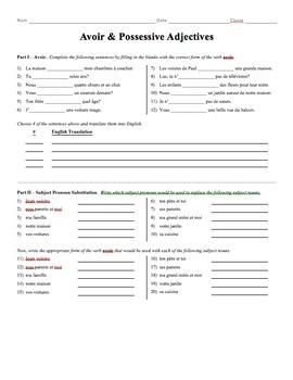 Grammar Worksheet - Avoir & Possessive Adjectives