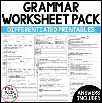 Grammar Worksheet Bundle - Answers Included