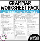 Grammar Worksheet Pack - Answers Included