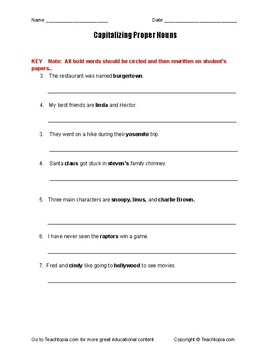 Grammar Worksheet.  Capitalizing proper nouns.  When to use capital letters.