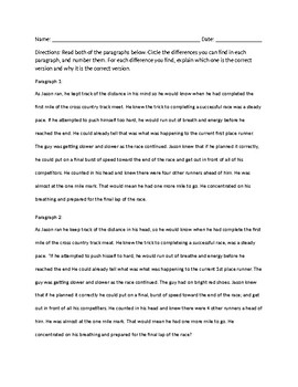 Grammar Worksheet - Differences between paragraphs