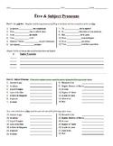 Grammar Worksheet - Être & Subject Pronouns