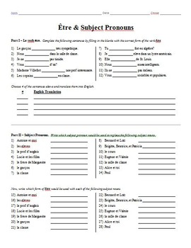 grammar worksheet tre subject pronouns by bill westers tpt. Black Bedroom Furniture Sets. Home Design Ideas