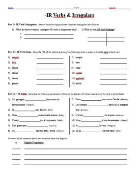 Grammar Worksheet - IR Verbs & Irregulars