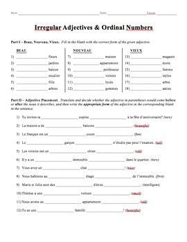 Grammar Worksheet - Irregular Adjectives & Ordinal Numbers