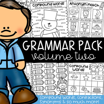 Grammar Worksheet Packet - Compound Words, Contractions, Synonyms and more!