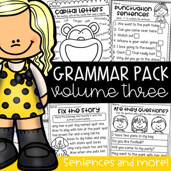 Grammar Worksheet Packet - Sentences, Punctuation, Capitals, Conjunctions & more