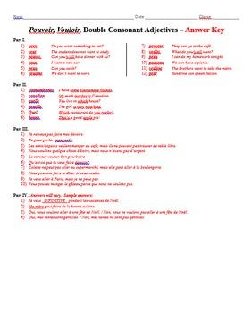 Grammar Worksheet - Pouvoir, Vouloir, Double Consonant Adjectives