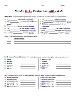 Grammar Worksheet - Prendre Verbs, Contractions with à & de