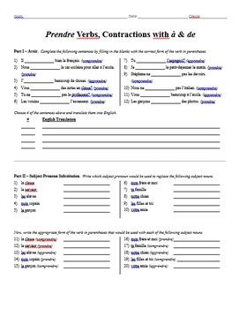 Grammar Worksheet - Prendre Verbs, Contractions with à & de