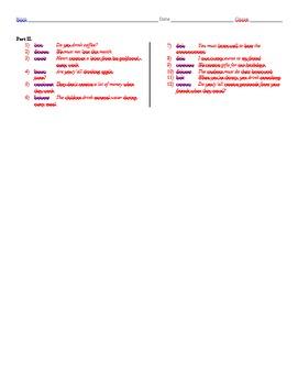 Grammar Worksheet - Question Formation, Boire, Devoir, Recevoir