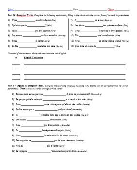 Grammar Worksheet - RE Verbs & Irregulars: Lire, Dire, & Écrire