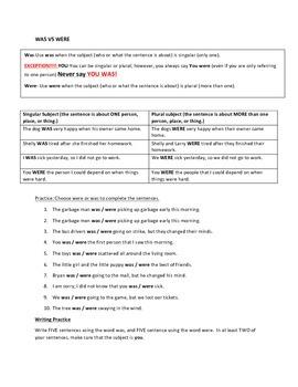 Grammar Worksheet: Was and Were