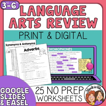 ELA Review Grammar Figurative Language Vocabulary Parts of Speech and more
