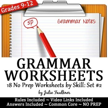 Grammar Worksheets, Lessons, ACT Prep, Skill Drill, VOL #2