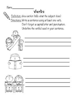 Grammar Worksheets (Noun, Verb, Adjective)