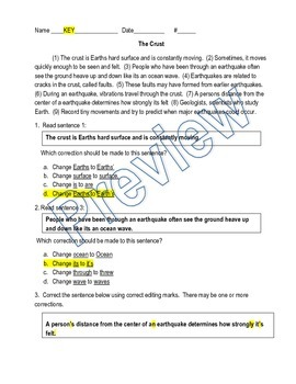 Grammar / Writing SOL Review: Paragraph Edit (Earth's Crust) and KEY