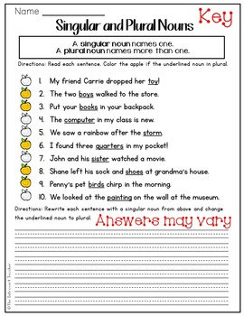 Grammar: Writing with Singular and Plural Nouns