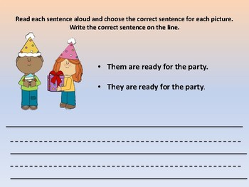 Grammar activity for They/Them