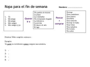 Grammar activity_Pensar and Querer