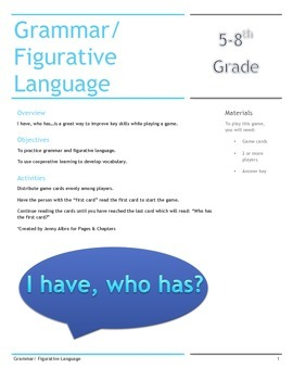 Grammar and Figurative Language: I have, who has?