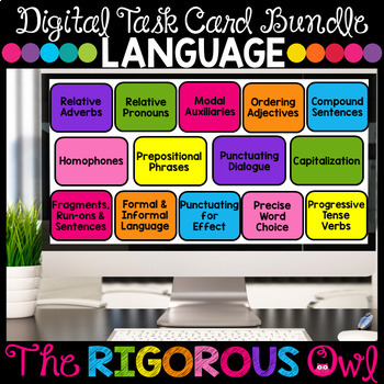 Distance Learning Grammar and Language Digital Task Cards Google Forms