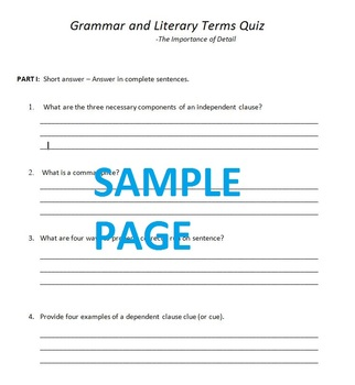 Grammar and Literary Terms Quiz