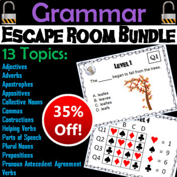 Grammar Escape Room - English: Parts of Speech, Prepositions, Appositives, etc.