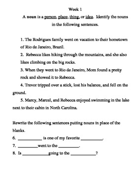 Grammar and Punctuation Practice Pages