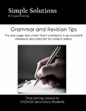 Grammar and Revision One Pager Reference and Checklist