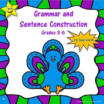 Grammar and Sentence Construction Task Cards, Grades 3-6