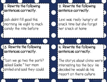 Grammar and Spelling Practice Task Cards