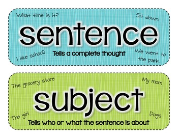 Grammar and Word Study Wall Cards
