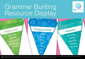 FREEBIE Grammar and Writing Resource Bunting Streamers Banner Printable
