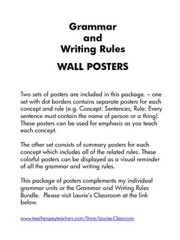 Grammar and Writing Rules WALL POSTERS