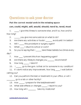Grammar resource: asking doctor questions using modal verbs