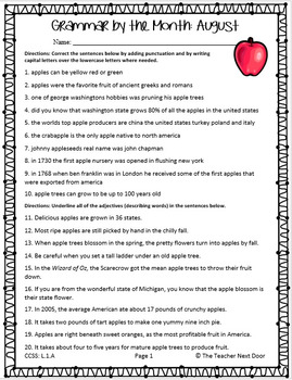 Grammar by the Month: August 3rd Grade Common Core