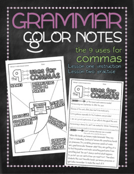 Grammar doodle notes: Commas